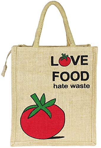Sangra Fashion Unisex Jute Printed Love Food Multipurpose Tote Lunch Bag with Zipper, Red