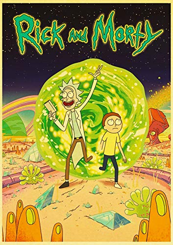 Hot Cartoon TV Rick and Morty Retro Pósteres Painting Wall Pósteres Modern Art Pósteres For Home/Kids Room/Bar Decor E066 30x21 cm