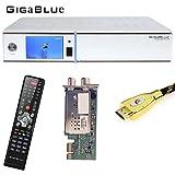 GigaBlue HD Quad Plus Linux HDTV Receiver weiß + 1x Hybrid Tuner DVB/C und DVB/T2 + MG-Technik HDMI-Kabel V2.0 Gold