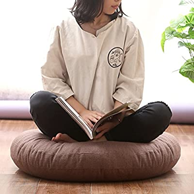 LJ&XJ Floor Cushion,Round Seat Cushion Increase Thickened For Office Floor Bay Window Tatami Student Stool Sofa Bench Cushion Yoga Cushion Natural Linen Futon Cushion