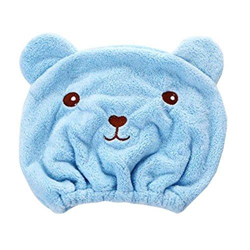 Rameng Kleiner Bär Hut Haartrockner, Handtuch Haar Turban elastisch Badekappe blau -