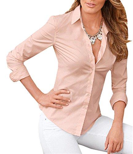DaBag Donna Camicia Blusa Chiffon Manica Lunga Casual Elegante V-collo Camicetta Top Moda Vintage Rosa