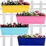 TrustBasket Rectangular Railing Planters -Yellow, Blue, Teal and Pink (18 Inch) - Set of 4