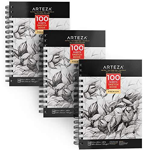 Arteza Skizzenbuch, 14 x 21,6 cm, 3 Stück, 300 Seiten, 2 spiralgebundene Skizzenblöcke, je 100 Blatt, strapazierfähig, säurefrei, Zeichenpapier (100 g/m²), ideal für Kinder und Erwachsene, Hellweiß