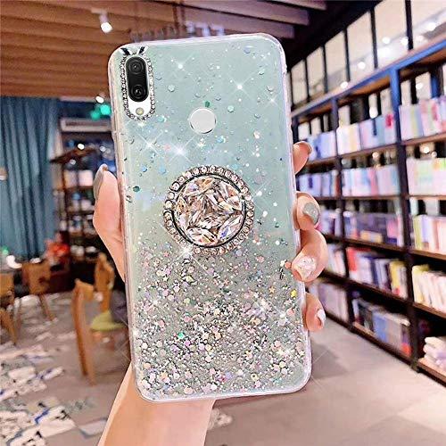 Uposao Kompatibel mit Huawei Nova 3i Hülle Glitzer Mädchen Frauen Diamant Glänzend Strass Bling Schutzhülle Silikon Clear Durchsichtige Hülle Weich TPU Tasche mit Ring Ständer,Grün