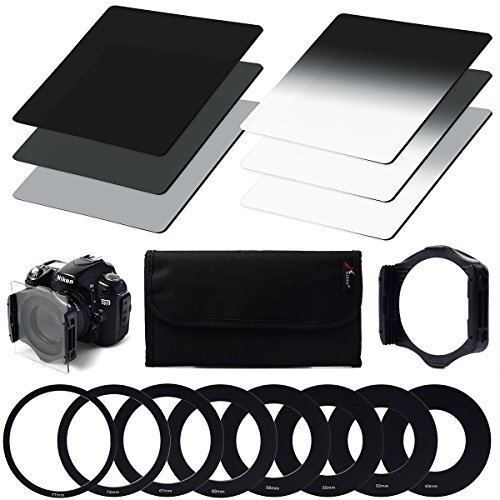 XCSOURCE 6pcs ND2 / ND4 / ND8 / G.ND2 / G.ND4 / G.ND8 Filter Set + 9pcs Ring Adapter Filter Holder for cokin p Series LF6