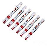 mark8shop 6x Universelle wasserdichte Permanent Farbe Autoreifen Marker Pen Rot