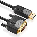deleyCON 2m DisplayPort zu DVI Kabel - FullHD / 1080p / 3D / HDCP / EDID - DP Stecker auf DVI-D (24+1) Stecker (Adapterkabel) - vergoldet - für Apple Mac / PC / Notebook / Monitor / Beamer / Grafikkarte - 2 Meter