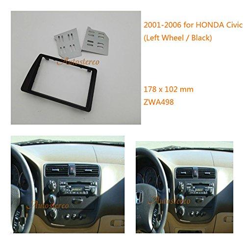 Zwnav Car Audio Radio Cadre de montage panneau de façade d'autoradio pour Honda Civic 2001-2006 (Roue gauche/noir) stéréo Façade d'autoradio Dash CD Trim Kit d'installation