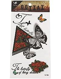 Chic-Net Klebetattoo Schmetterlinge realistisch rot orange Schatten Spruch Schreibschrift