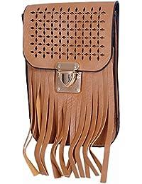 Ratash Cut Work With Stripe Cut Sling Bag Dark Camel (Hbd_43_44_45_13)