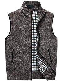 GKKXUE Chaleco de lana de punto de los hombres,Chaleco de cumpleaños de padre de tamaño M a XXXXL