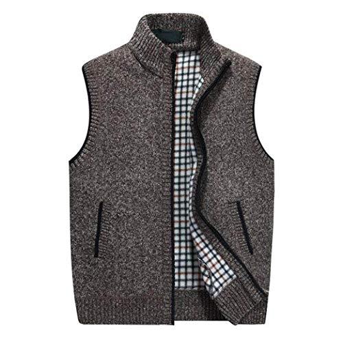 GKKXUE Herren Strickwolle Weste, Herbst Winter warme Pullover Weste Vater Geburtstagsgeschenk Größe M bis XXXXL (Farbe : Brown, größe : M)