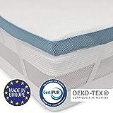 Viscoelastischer Topper H3 (160 x 200 cm) - Orthopädische Matratzenauflage, Europa hergestellt, OEKO TEX zertifiziert - Rutschfeste Unterseite, 4 Eckbander - Bezug aus Bambusviskose mit Reißverschluss