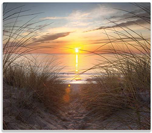 Herdabdeckplatte / Spitzschutz aus Glas, 1-teilig, 60x52cm, für Ceran- und Induktionsherde, Sonnenuntergang am Strand