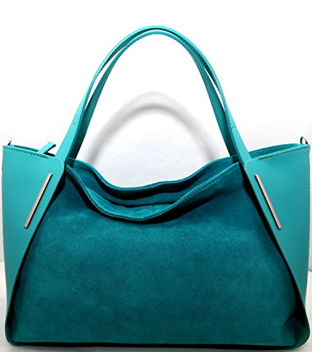 Femmes sac en cuir natural Parma ,Made in Italy ''CREEO'' Bleu turquoise