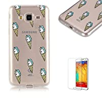 For Samsung Galaxy J3(2016 Model)/J310 Case J310 Cover [with Free Screen Protector], Funyye Fashion lovely Lightweight Ultra Slim Anti Scratch Transparent Soft Gel Silicone TPU Bumper Protective Case Cover Shell for Samsung Galaxy J3(2016 Model)/J310 - ice cream
