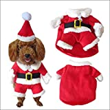 Navidad pequeño mascota perro Santa Claus Outfit Disfraces Traje Ropa con Sombrero