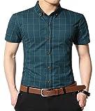 AIYINO Herren Kurzarm Hemd mehrere Farben zur Auswahl (Large, G-Eisblau)