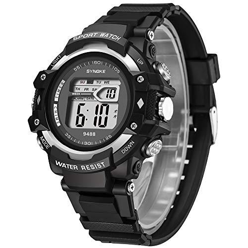 LABIUO Fashion LED Digital Double Action Herrenuhr Multifunktionale wasserdichte Sportuhr Einfache Kunststoffband Schnalle Uhr(Silber,Freie Größe)