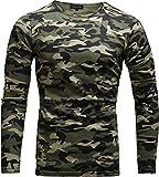 Crone Essential Basic Herren Slim Fit Langarm Rundhals Shirt Longsleeve T-Shirt Sweatshirt in vielen Farben (M, Camouflage)