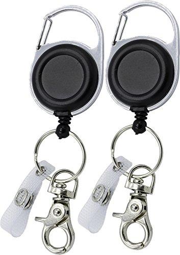 2 Stück Ausweishalter Schlüsselanhänger JoJo starke Feder reißfeste Schnur - für Schlüssel oder Ausweise mit Gürtelclip Schlüsselring und Klemmhaken (Zwei Stück Hosenanzug)