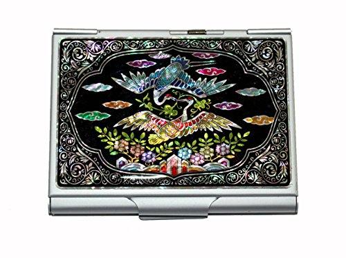 Madre de Pearl Crane & Nube Diseño Grabado metal acero inoxidable Cigarrillos Soporte Funda Caja De Almacenamiento