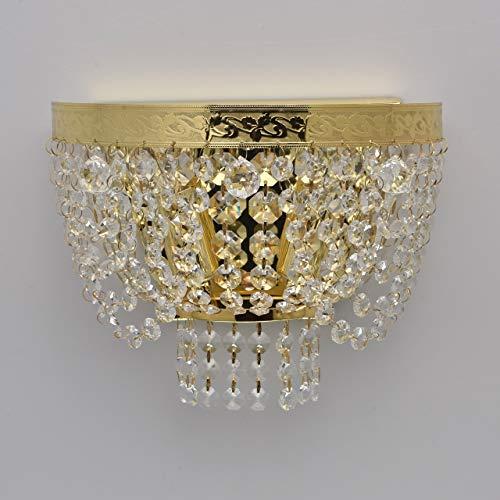 Elegante Wandlampe 2 - flammig goldfarbiges Metall Kristall klar indirektes diffuses Licht für...