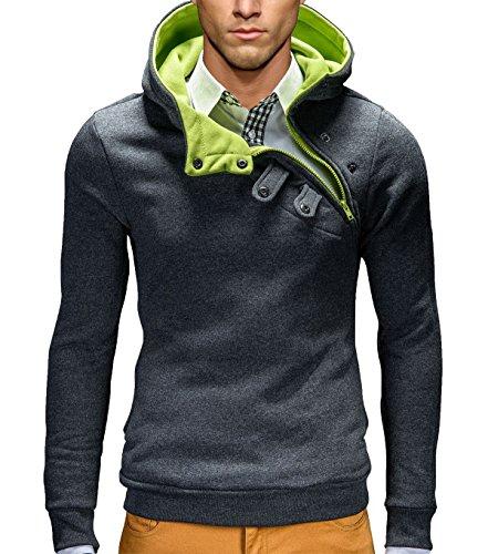 BetterStylz Kapuzenpullover PCOBZ Hoher Kragen Pullover Hoodie Sweatshirt div. Farben (S-XXL) (M, Dunkel Grau/Lime)