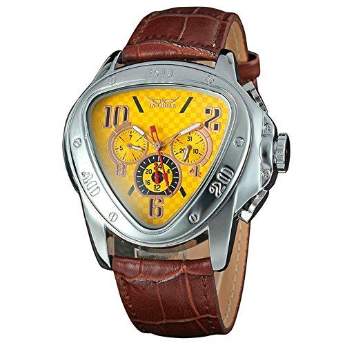 Yisuya mechanische Herrenuhr, mit Automatik, Armee, Dreieck, Kalenderfunktion, 24-Stunden-Zifferblatt, aus Leder, Sport-Armbanduhr, braun und gelb