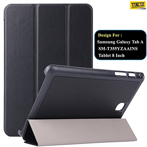 Taslar Synthetic Leather Flip Cover Case For Samsung Galaxy Tab A SM T355YZAAINS Tablet 8 Inch  Black