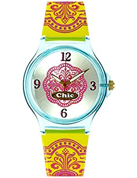 Teenie Chic Kinder Uhr uc021–Armbanduhr Damen, Armband aus Kunststoff Farbe gelb