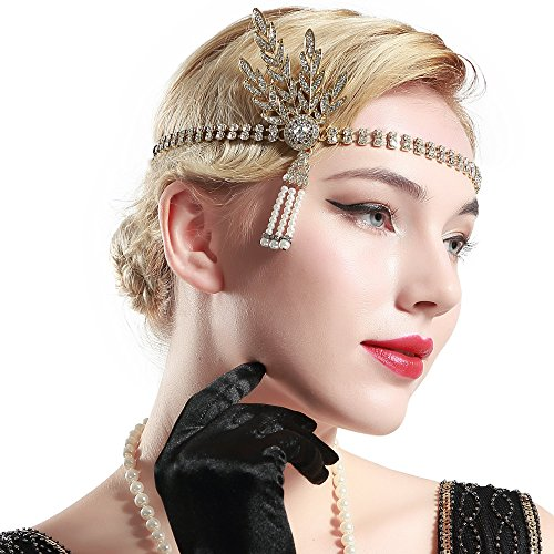 BABEYOND 1920s Flapper Headband Crystal Great Gatsby Headpiece 1920s Flapper Gatsby Accessories Leaves Simulated Tiara Headband with Pearl Tassel