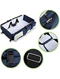 Babies Bloom Navy Blue Portable Multifunctional Baby Travel Bed Cot/Bassinet And Folding Mummy Diaper Bag