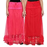NumBrave Pink & Red Long Flared Skirt (P...