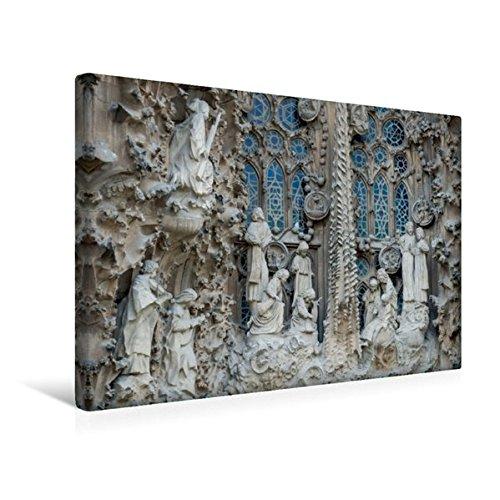 Calvendo Premium Textil-Leinwand 45 cm x 30 cm quer, Szene an der Front von Sagrada Familia | Wandbild, Bild auf Keilrahmen, Fertigbild auf echter Leinwand, Leinwanddruck Orte Orte (Jugendstil-planer)