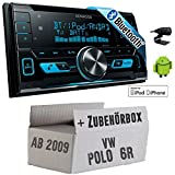 VW Polo 6R - Kenwood DPX-X5000BT - 2DIN Bluetooth USB Autoradio - Einbauset