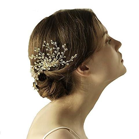 Feuille d'or cristal Cheveux Vigne–rustique de mariage Perle Bandeau Woodland Couronne de mariage