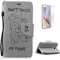 CaseHome Housse for Samsung Galaxy S6 Coque en Cuir avec [Gratuit Protections D'écran], [Don't Touch My Phone] Cute Ours Motif Mode Designer Magnétique Fermeture avec Carte-Gris