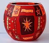 Leuchtglas Sternmuster rot-braun, Windlicht, Teelichtleuchte aus Glas, Kugelform, Kerzenhalter