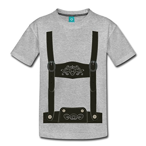 Lederhose Tracht Teenager Premium T-Shirt von Spreadshirt®, 158/164 (12 Jahre), Grau meliert