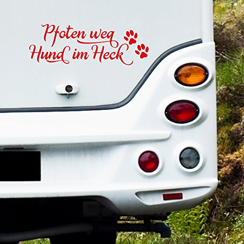 MA108 Clickzilla - Wohnmobil Aufkleber - Pfoten weg Hund im Heck - Grösse: 33 cm x 12 cm (b x h)