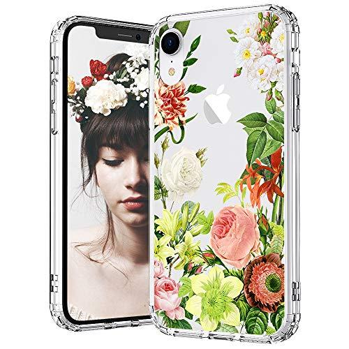 MOSNOVO iPhone XR Hülle, Botanik Blühen Blumen Muster TPU Bumper mit Hart Plastik Hülle Durchsichtig Schutzhülle Transparent für iPhone XR (Botany)