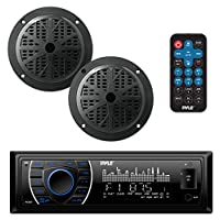 Pyle Marine Headunit Receiver Speaker Kit - In-Dash LCD Digital Stereo Built-in Bluetooth & Microphone w/AM FM Radio System 5.25 Waterproof Speakers (2) MP3/SD Readers & Remote Control - PLMRKT46BK