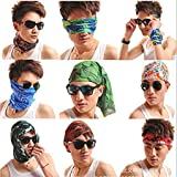 #7: Men's and Women's Multi-functional Premium Polyester Stylish Bandana, Head wrap, Balaclava, (Multicolored) Neck Face Mask Headband, for Bikers, Motorcycles, Anti-Pollution Mask, Seamless Wear (Pack of 10)