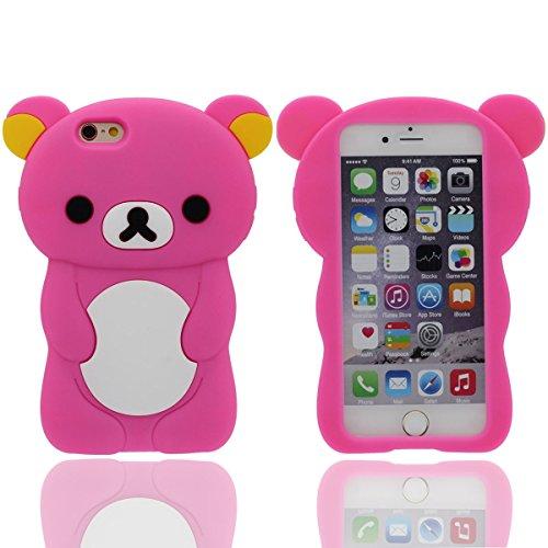 "étui Silicone Gel Coque Apple iPhone 7 4.7"", iPhone 7 Case - Blau, Dessin animé Animal Mode Mignonne Ours Apparence Souple Housse de Protection Anti choc Rose"