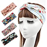 Healthcom Printing Headbands Hair Accessories Multi Style Criss Cross Head Wrap Twisted Knotted Hair Band For...