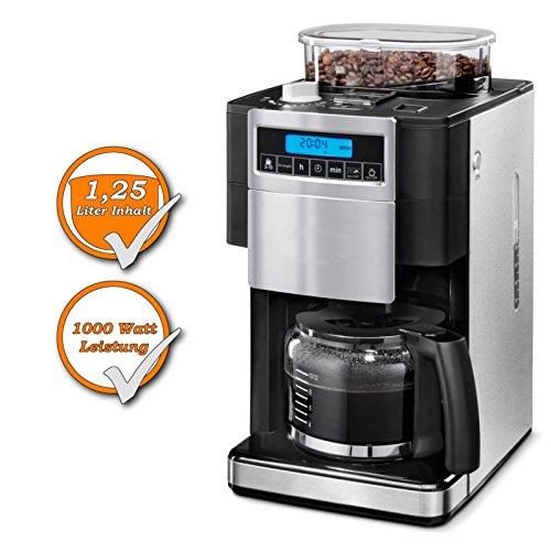 Filter Kaffeemaschine, integrierte Kaffeemühle, 12 Tassen Kaffee 1,25Liter, 1000Watt,...