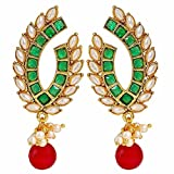 Maayra Classic Red Green Pearl Drop Earrings best price on Amazon @ Rs. 1765