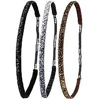Ivybands® | Das Anti-Rutsch Haarband | 3-er Pack | Glitzer Edition | Schwarz Glitzer, Dunkel Metall Glitzer, Braun Glitzer Superthin | One size | IVY261 IVY260 IVY133